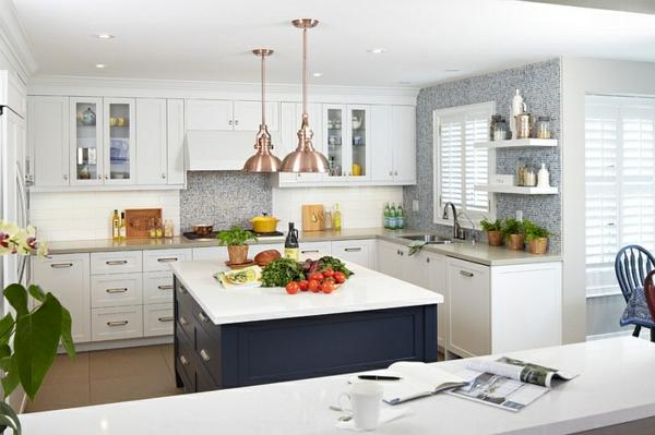 innendesign blau weiß küchen ideen küchenmöbel kücheninsel