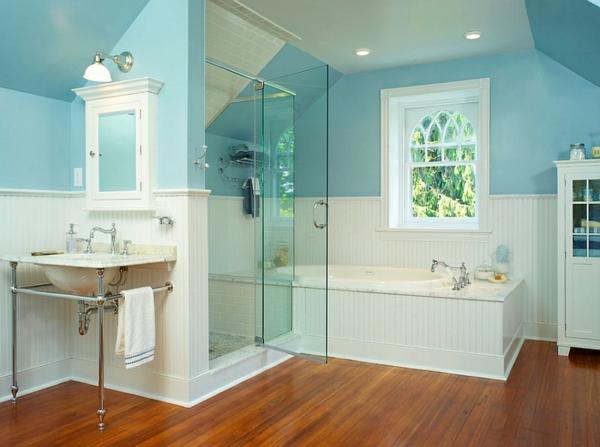 innendesign blau und weiß luxus badezimmer duschkabine