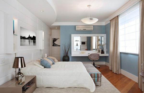 innendesign blau und weiß schlafzimmer ideen
