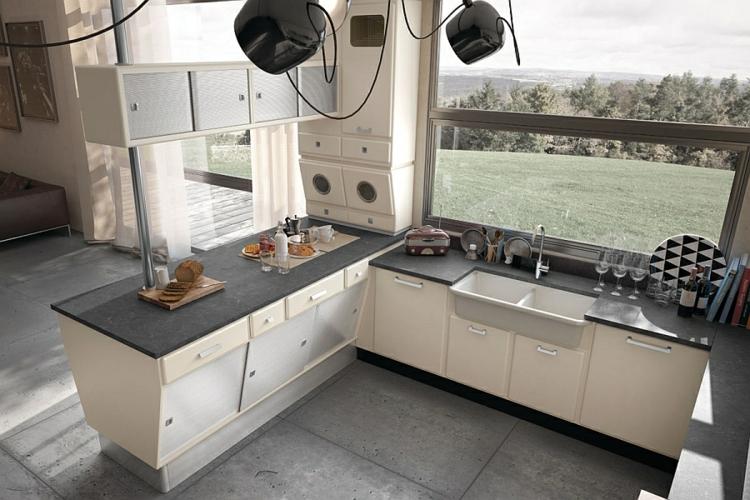 küche gestalten ideen retro stil arbeitsfläche granit betonplatten große fensterfläche