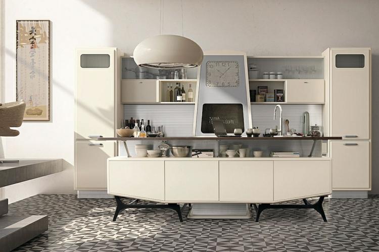 küche gestalten kücheninsel retro stil 50er jahre linoliumboden