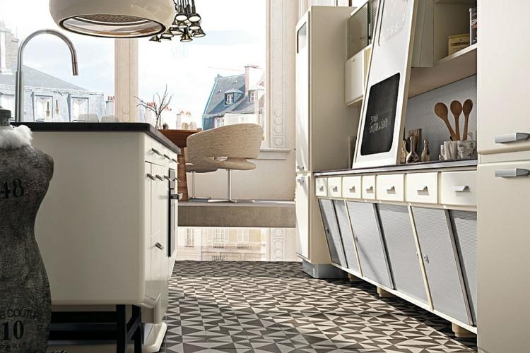 küche gestalten kücheninsel retro vintage linoliumboden 50er stil