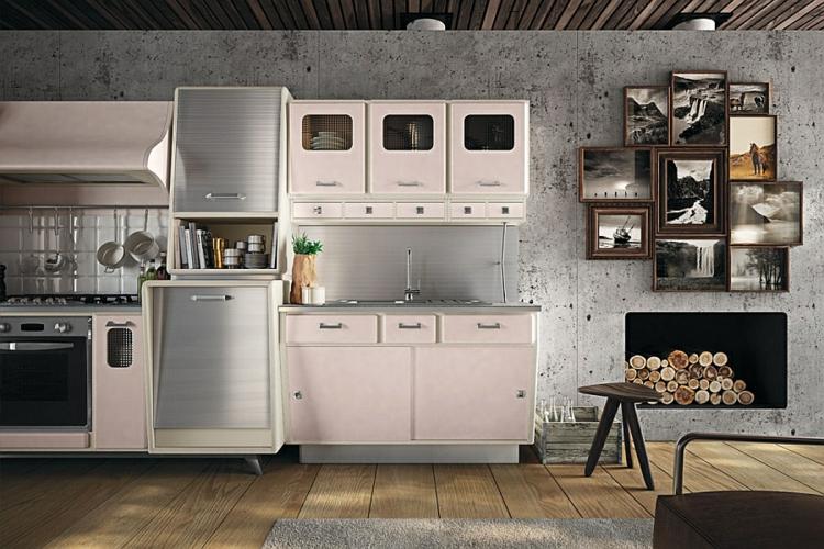 küche gestalten küchenschränke im retro stil arbeitsfläche kochfeld wand beton optik