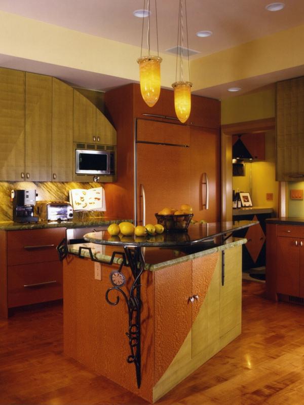 kücheninsel freistehend küchenmöbel pendelleuchten