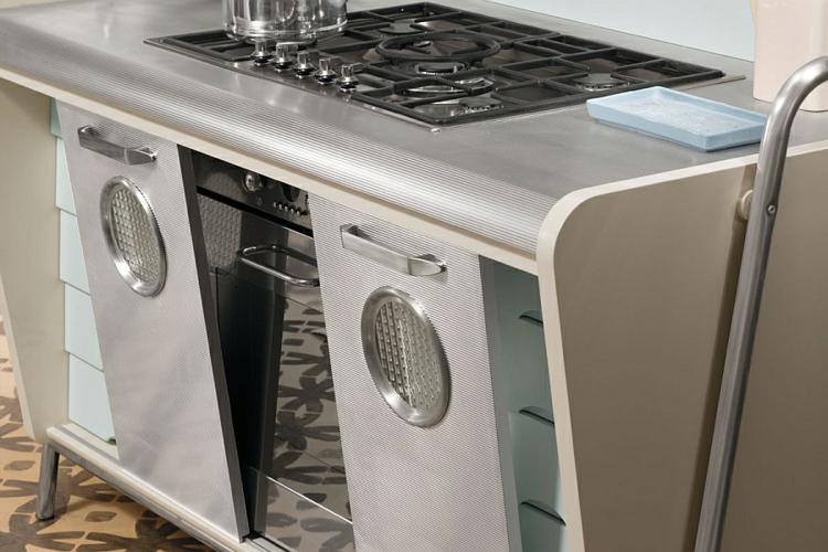 küche unterschränke kochfeld retro küche vintage design designerküche linoliumboden