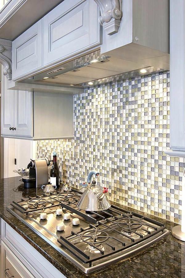 Küche Wohnungsgestaltung Ideen Küchenrückwand Glasmosaik