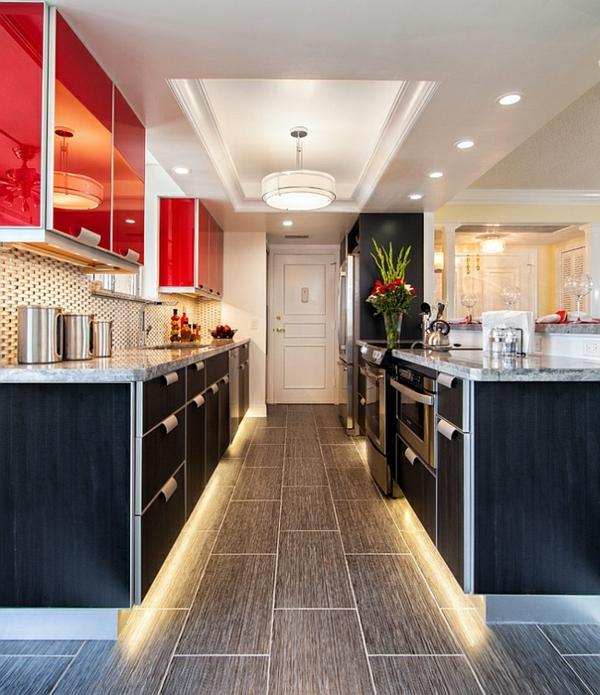 küchen LED einbauleuchten dekorative decke schwarz schränke