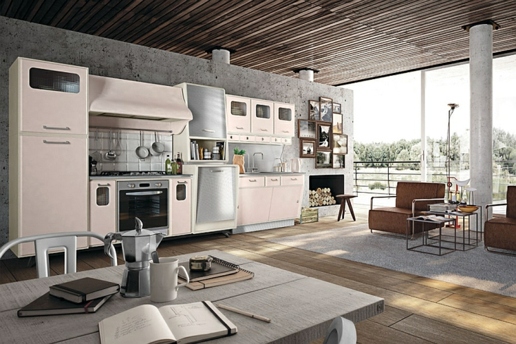 küchen arbeitsgfläche esstisch mit stühlen moderne küche retro design designerküche