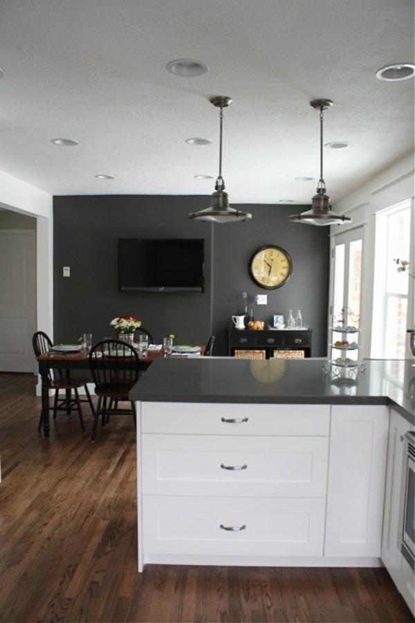 küchen design essraum wandgestaltung grau pendelleuchten