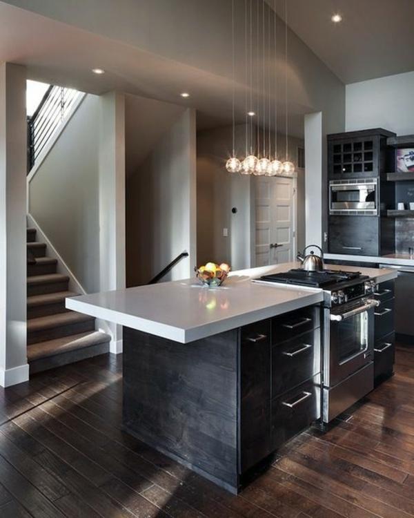küchen design wandgestaltung grau modern dunkle holzboden