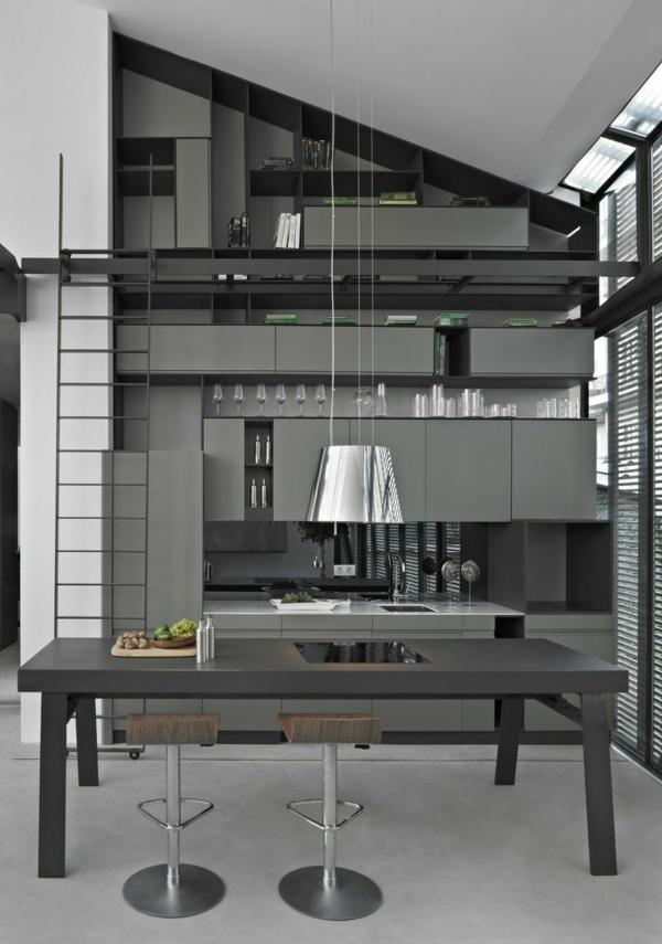küchen design wandgestaltung grau modern graue möbel pendelleuchten