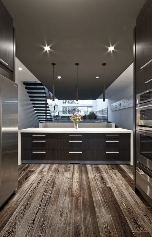 küchen design wandgestaltung grau modern holzboden