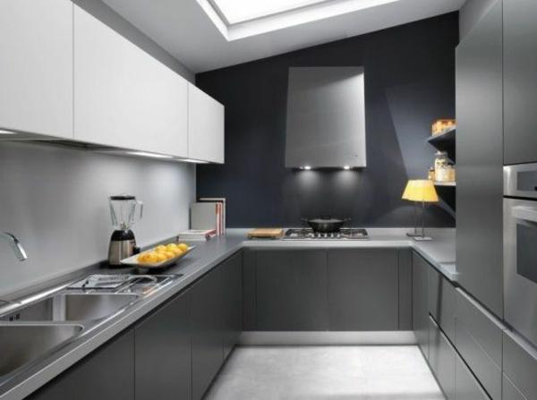 Weiß Graue Kombination Für Kücheneinrichtung. Küchen Wandfarbe Grautöne  Modern Möbel