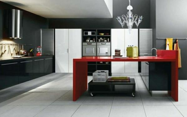 küchen design wandfarbe grautöne modern roter tisch