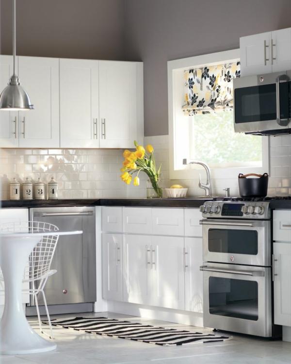 küchen design wandfarbe grautöne modern weiße