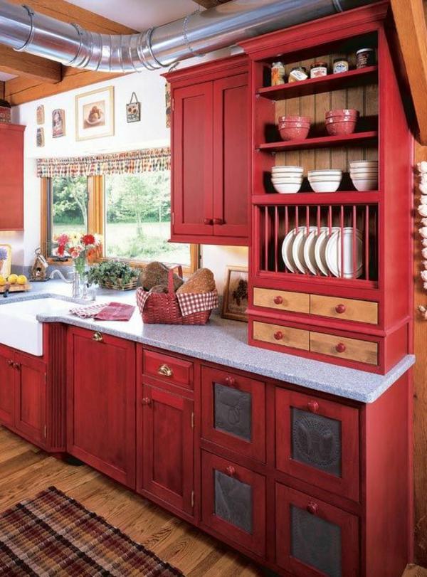 küchenfronten austauschen alte küchenschranktüren retro küche in rot