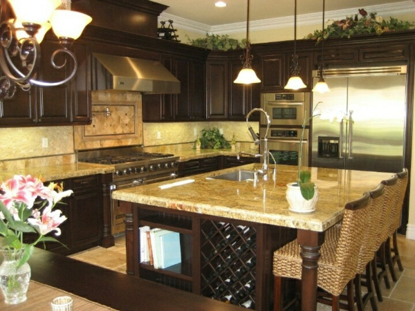 küchenblock freistehend einbauspüle barhocker
