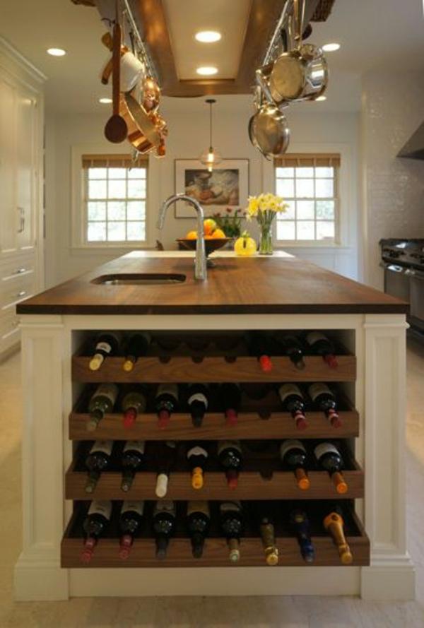 küchenblock freistehend kücheninsel weinregal