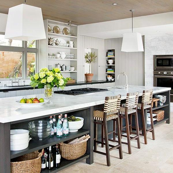 küchenblock freistehend lange kücheninsel lagerraum