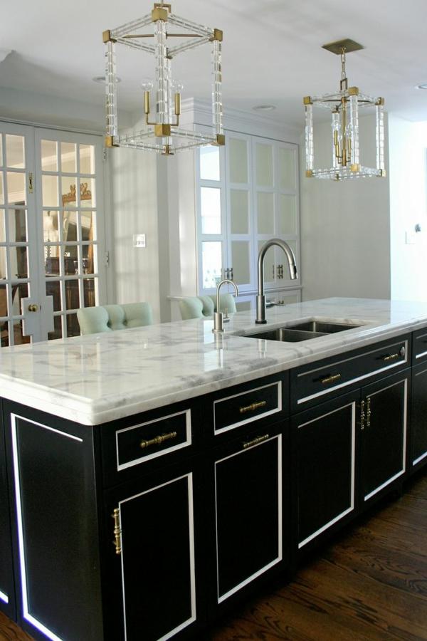 küchenblock freistehend marmor oberfläche schwarz
