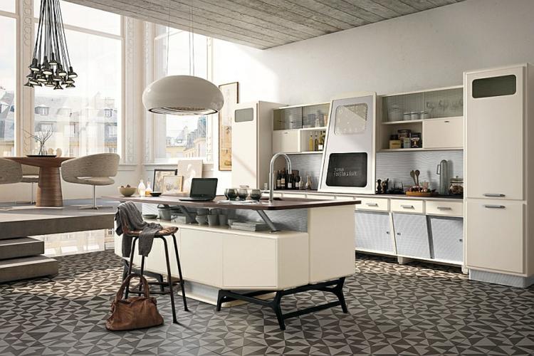 küchenideen kücheninsel retro 50er jahre stil linoliumboden designer pendelleuchten