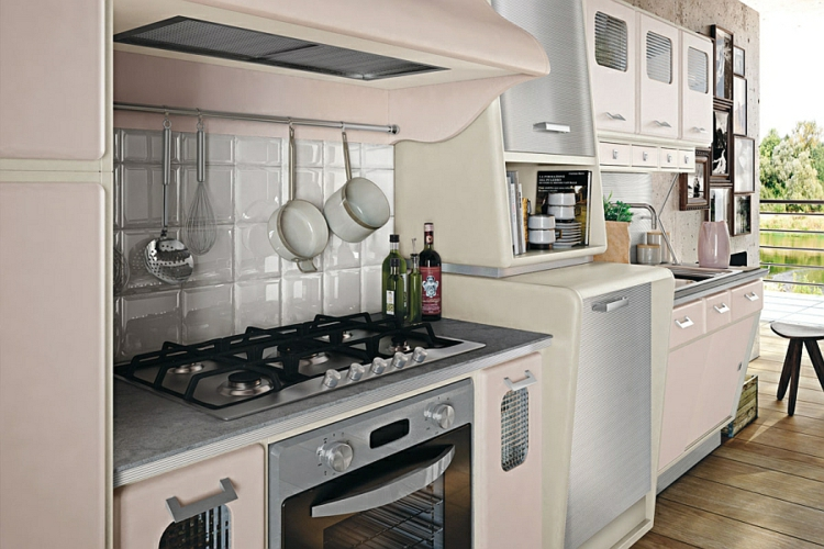küchenschränke kochfeld retro küche vintage design designerküche