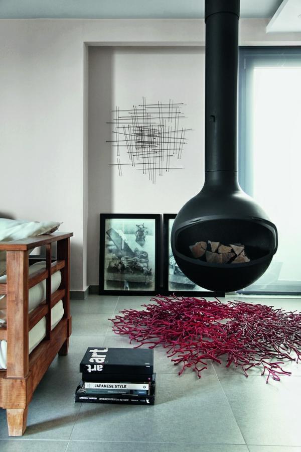 kaminofen rund hngend teppich akzent - Moderne Luxus Kamine