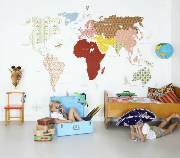 design kinderzimmer wände gestalten landkarte