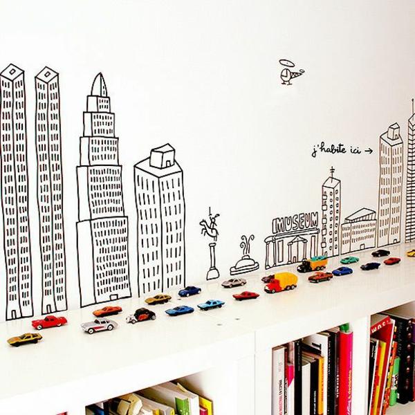kinderzimmer design kinderzimmerwände stadt inspiration