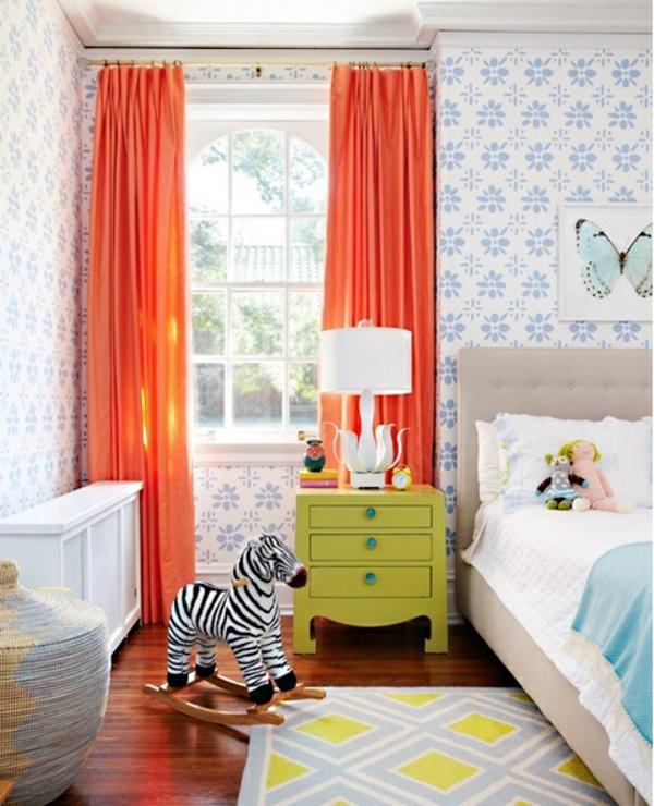 ideen deko gardinenvorschläge orange Ideen für Kinderzimmergestaltung