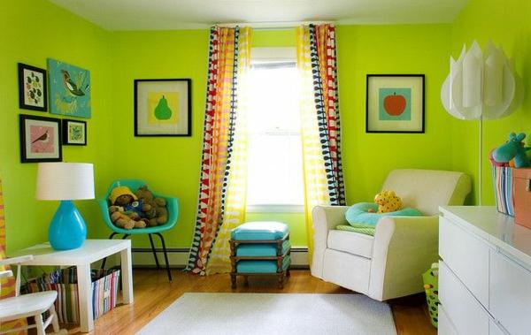 kinderzimmer gestalten ideen deko grün wandfarben