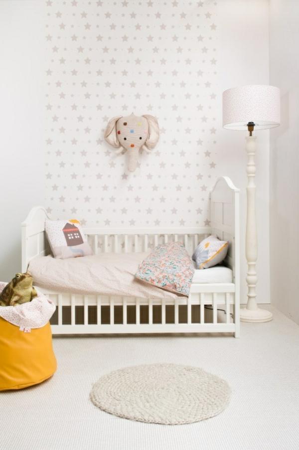 kinderzimmer strerne wanddeko gestalten ideen deko weiß puristisch