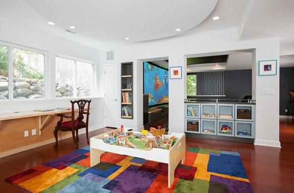 kinderzimmer gestalten untergeschoss bunter teppich tisch