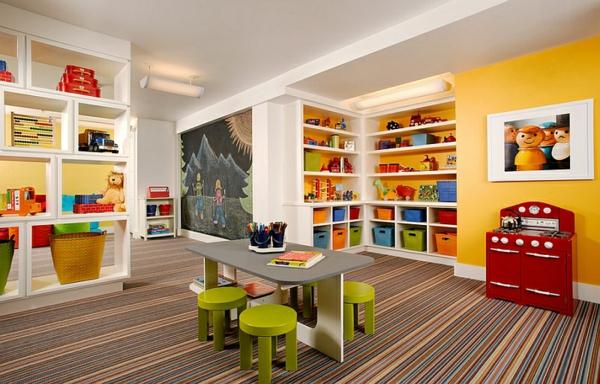 kinderzimmer gestalten untergeschoss bunter teppich