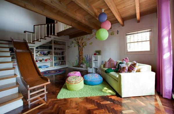kinderzimmer gestalten untergeschoss treppe rutsche grüner teppich