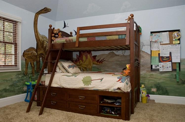 Kinderzimmer Gestalten Wanddeko Ideen Dinosaurier Etagenbett