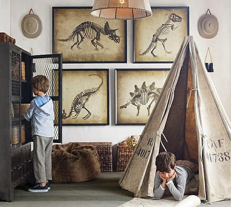 kinderzimmer gestalten wandgestaltung ideen dinosaurier zelt landhausstil