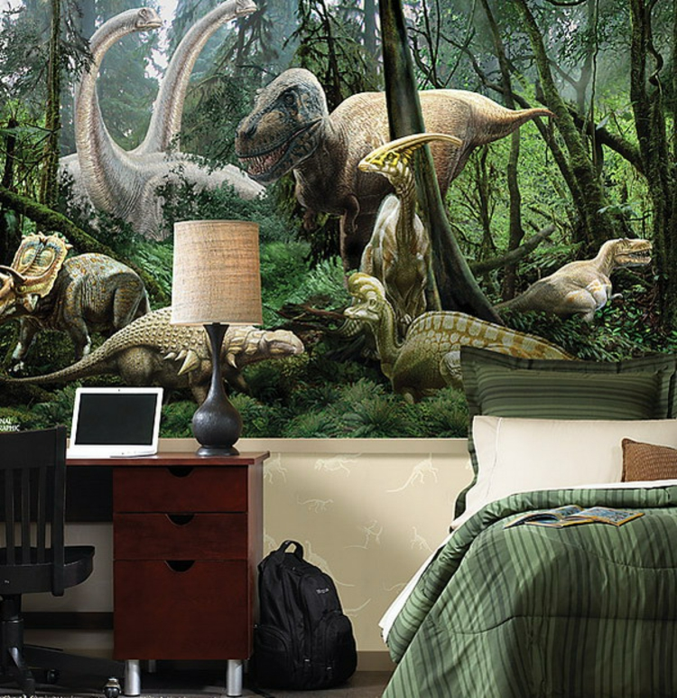 kinderzimmer gestalten wandtattoo wandtapete ideen dinosaurier