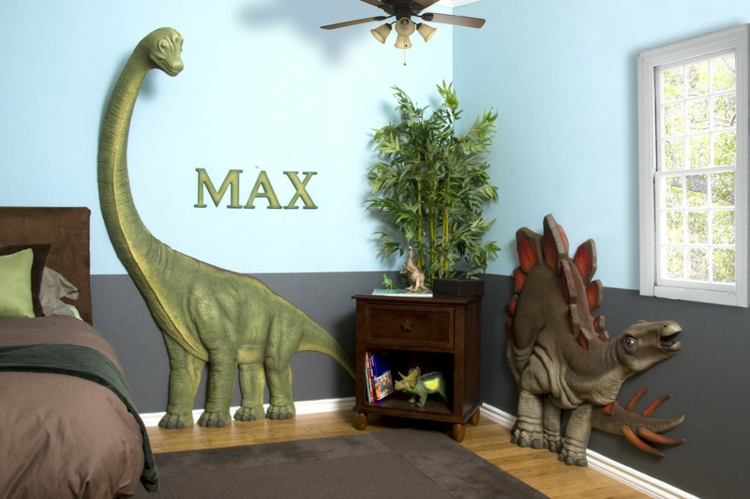 Kinderzimmer Wandfarbe Ideen Tiere 3d Dinosaurier Wand Dekorieren