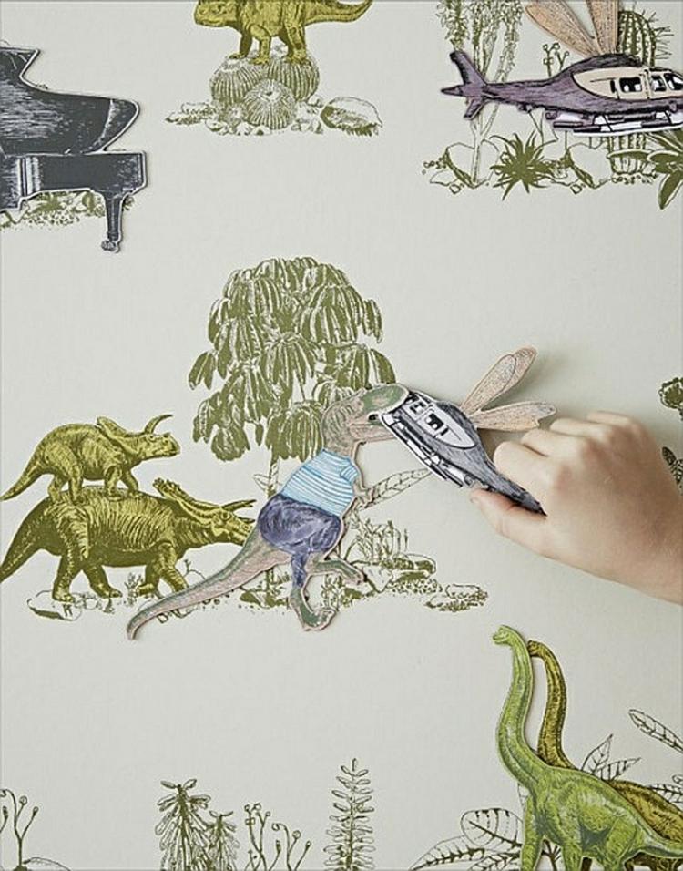 kinderzimmer wandtapeten dinosaurier abbildungen wandgestaltung für kinder