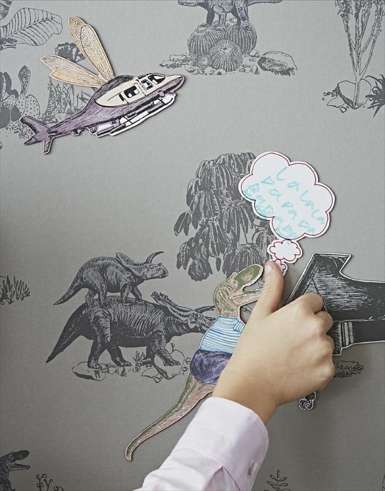 kinderzimmer wandtapeten dinosaurier abbildungen