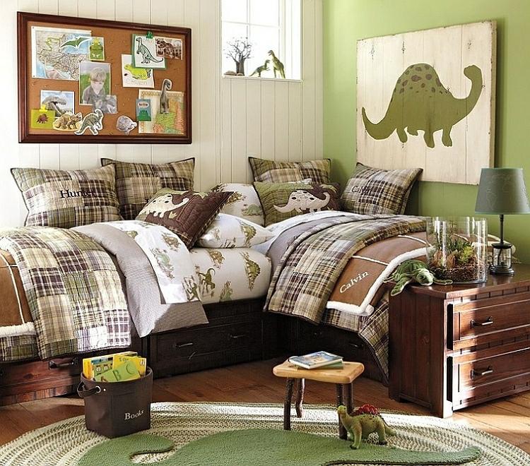 Kinderzimmer Wandtattoo Wandgestaltung Ideen Dinosaurier Bettwäsche Teppich