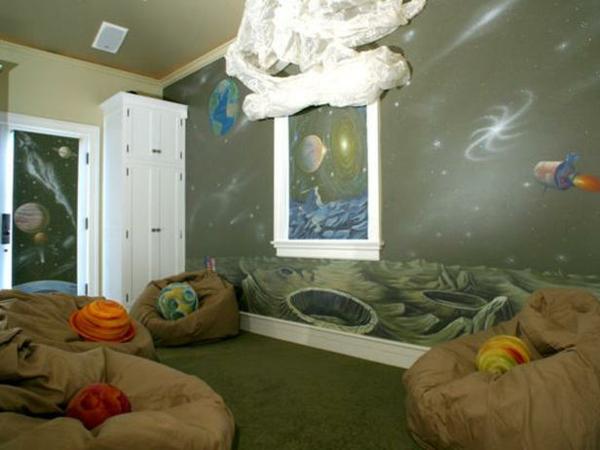 kinderzimmerwände gestalten astronaut kinderzimmer design
