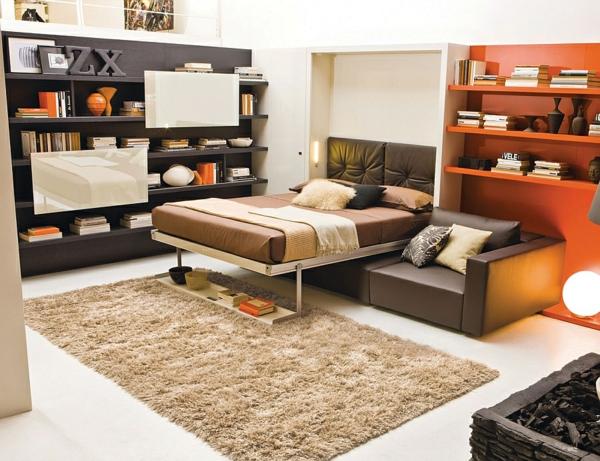 klappbett sofa schrankbett weißer  teppich