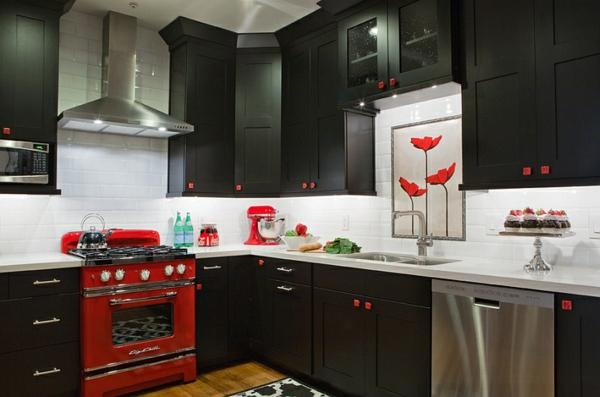 küche gestalten roter offen schwarze küchenmöbel