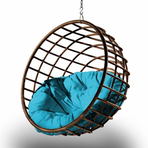 korbhängesessel rattan hängesessel blau design