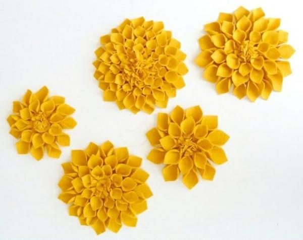 kreative bastelideen filzblume deko ideen selber machen