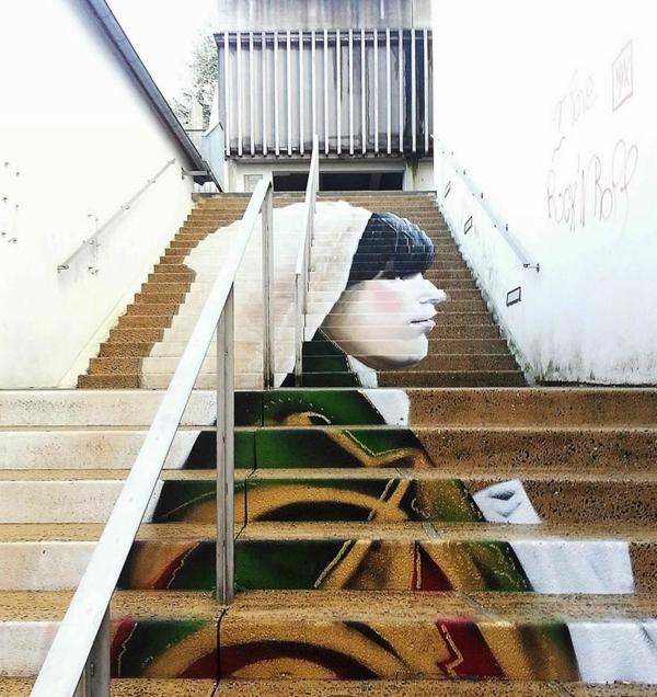 straßenkunst außenarchitektur treppen verkleiden frankreich