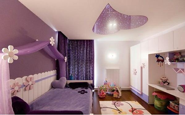 lila schlafzimmer kinder dekorative decke teppich
