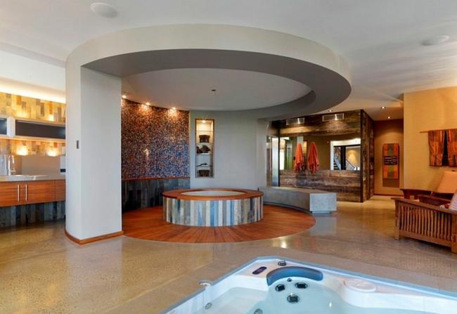 luxushaus wellness badewanne mit whirlpool rund wohnraum